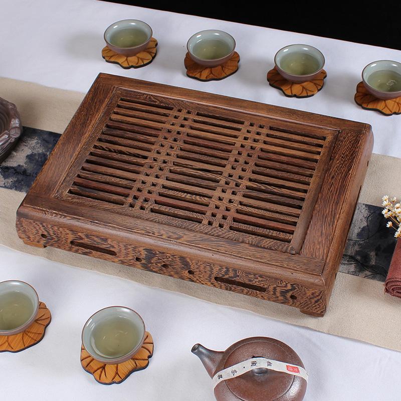 小博古實木茶具 雞翅木茶盤 雅致抽屜排水雙用實木茶盤茶海茶托功夫茶具
