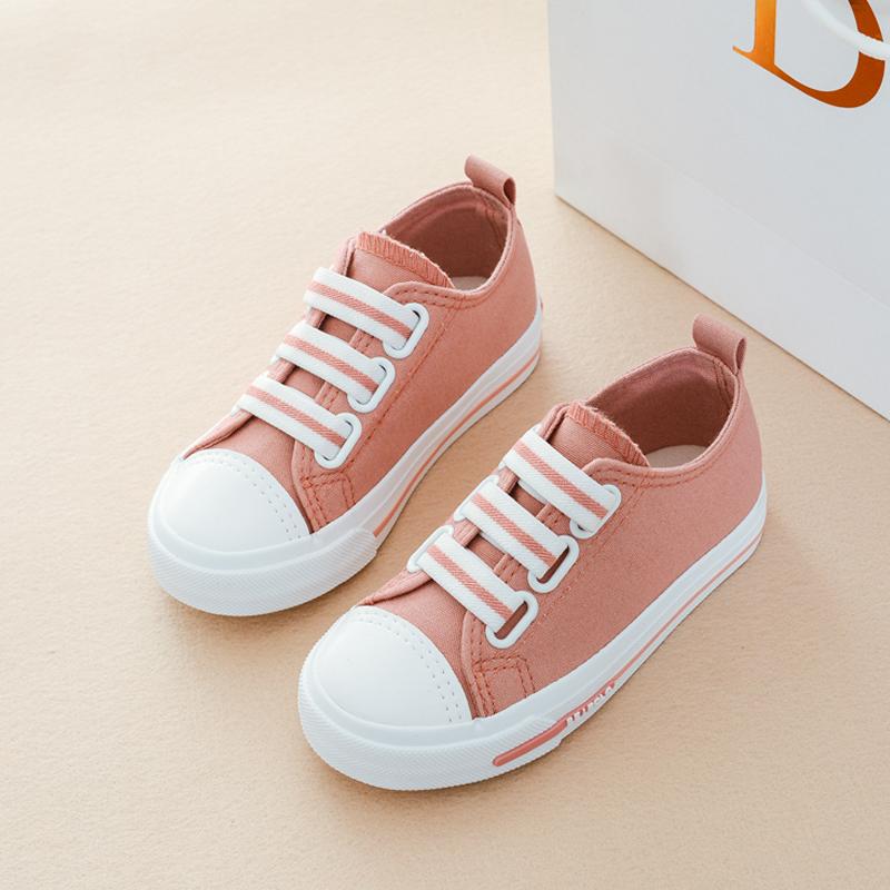 贝贝低帮儿童鞋子女童鞋2017秋新款男童帆布鞋公主鞋糖果色板鞋