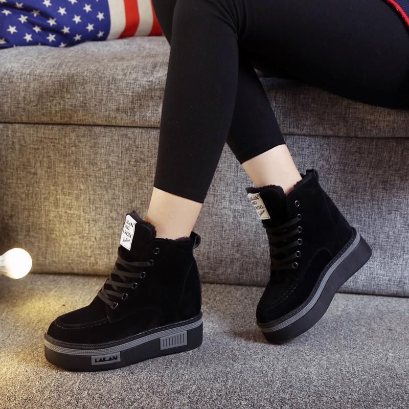 百搭厚底帆布鞋女秋冬季新款内增高加绒高帮运动鞋黑色超高跟10cm