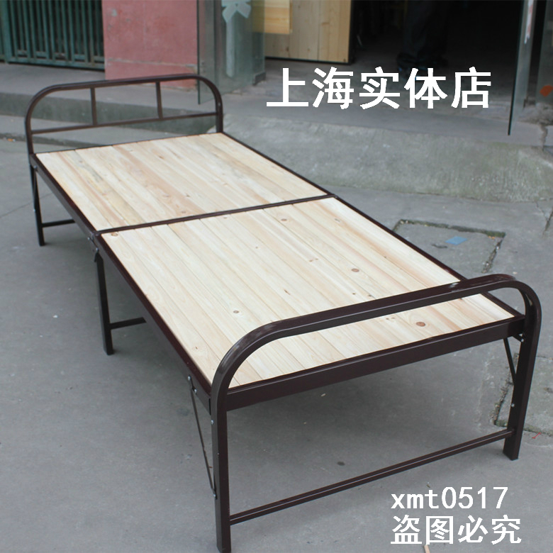Steel wooden folding bed double bed sheets reinforcement nap wood bed simple chaperone bed hard single 1 meters 9080