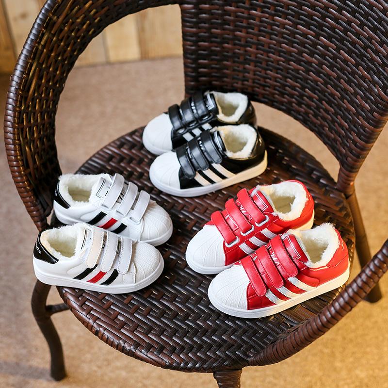 秋冬季儿童小白鞋男童保暖运动鞋新款潮休闲鞋女童加绒棉鞋贝壳鞋
