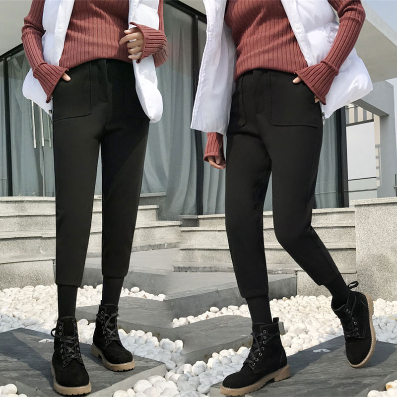 毛呢七分裤女九分秋冬季2017新款韩版百搭学生休闲萝卜香蕉哈伦裤