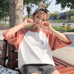 韩版潮2018夏季新款超火短袖t恤女潮人学生宽松紫色百搭少女上衣8