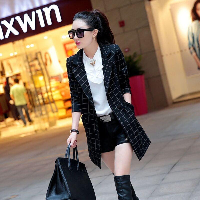 小西装女外套中长款2016春装新款女装修身韩版OL百搭休闲格子西服
