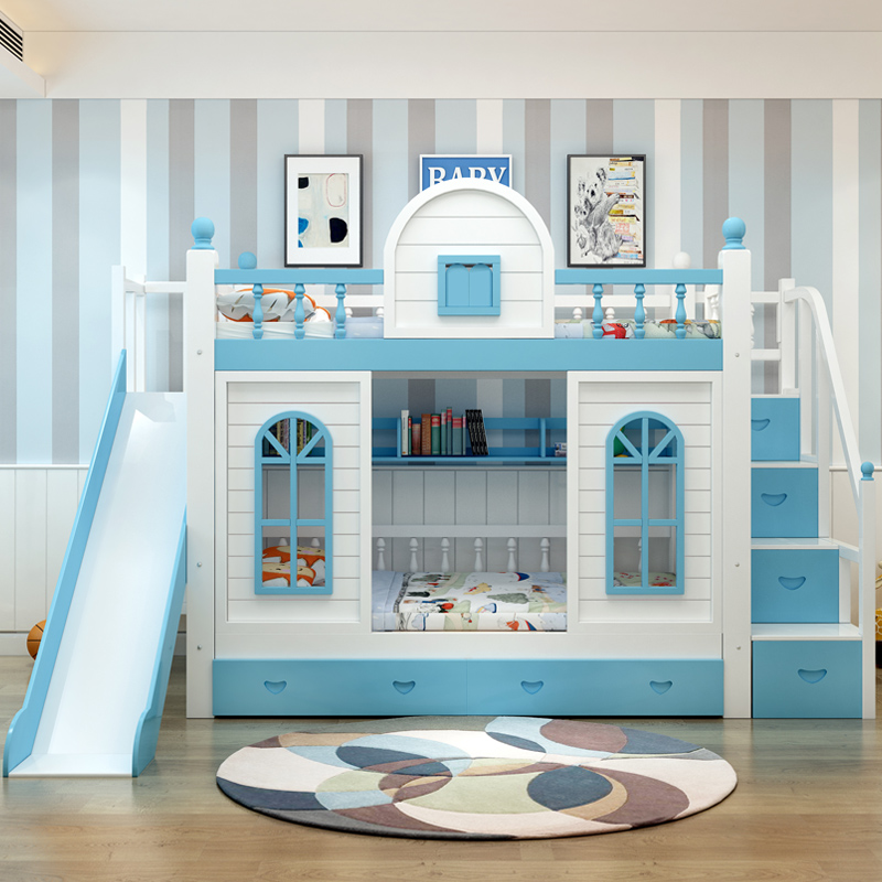Children go up and down the castle bed, double bed, solid wood mother and child bed, high-low bed table, table mother, ladder cabinet, slide bed