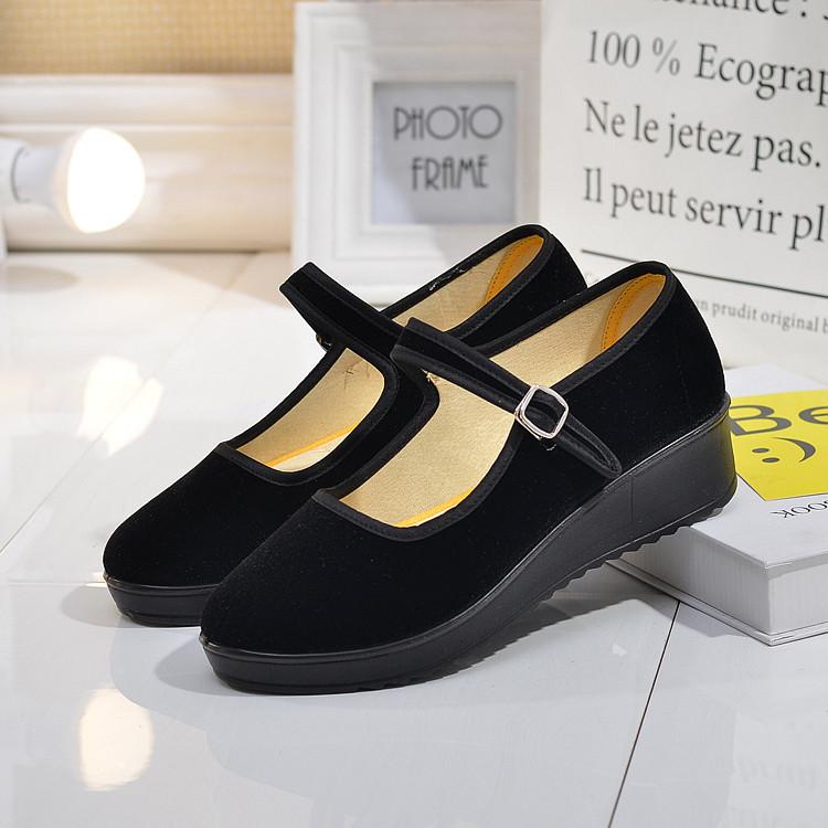 天天特價厚底老北京布鞋女單鞋工作鞋女鞋黑色平跟坡跟舞蹈酒店鞋