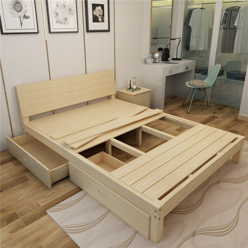 1.5 pine wood bed double bed single bed 1.8 adult 1.2 tatami modern wood frame