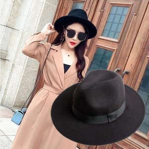 秋冬天季黑色英伦宽檐新品帽子女式礼帽秋女士爵士帽女羊毛呢毡帽