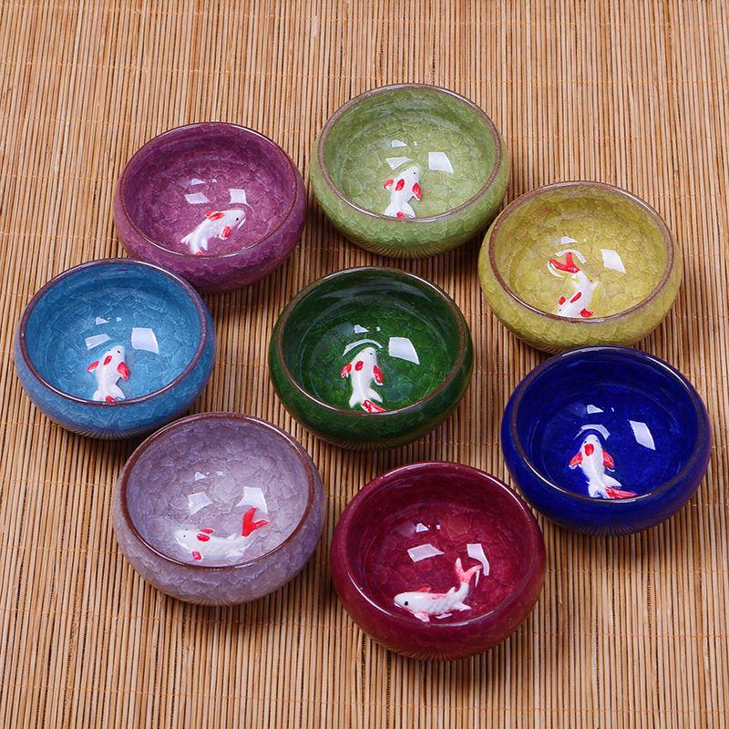 窑变天目多色冰裂釉紫砂茶杯功夫茶具罗汉杯品茗杯陶瓷杯青瓷茶壶