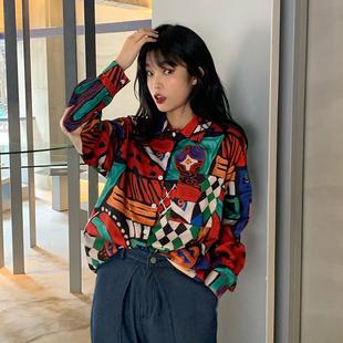 2019新款韩版原宿风怪味少女bf长袖衬衫宽松ins复古印花衬衣上衣