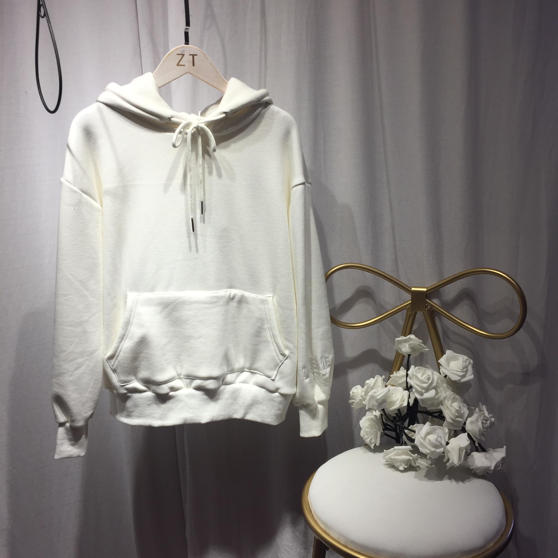 钱夫人同款雪梨冬季港味白色刺绣加绒卫衣女连帽学生宽松上衣潮