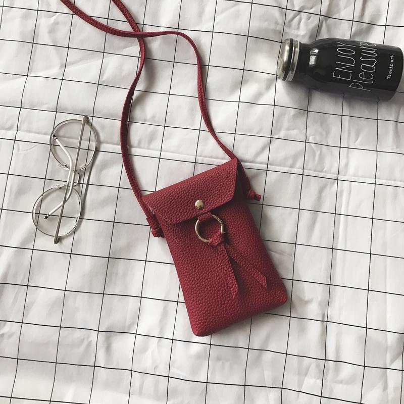 酒红色流苏包手机包