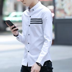 春夏衬衫男士衬衣韩版修身条纹青少年寸衫 潮秋装男装长袖衬衫223