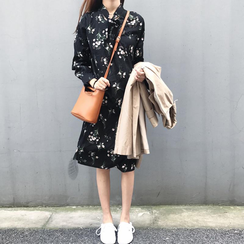 初秋新款女装气质领口绑带碎花小清新学生宽松显瘦雪纺衬衫连衣裙