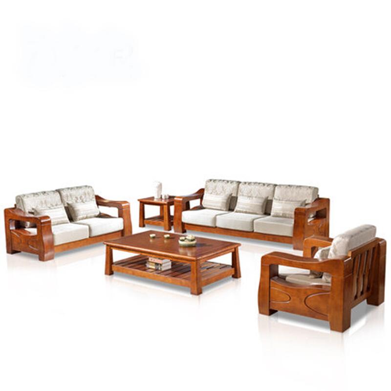 美依萱材のソファーソファー新中国木造組み合わせ現代中国式の全木造布製リビングソファ家