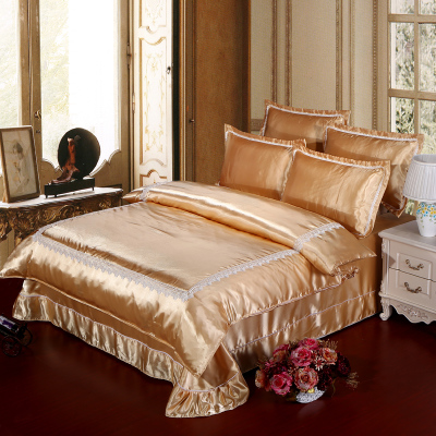 Tencel four sets of spring and summer ice silk silk quilt naked piece bedding sheets