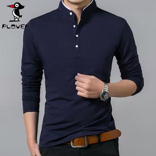 啄木鸟男装立领纯色长袖T恤秋季新潮流韩版POLO衫打底衫上衣服男
