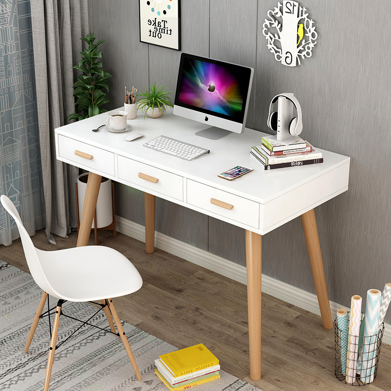 北欧电脑台式桌书桌子简约易经济型笔记本家用学生实木卧室写字台
