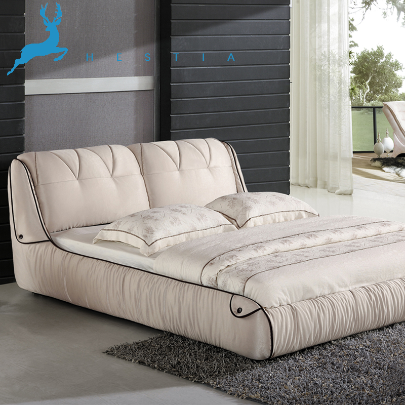 The Nordic minimalist washable fabric bed large-sized apartment simple modern cloth bed double 1.5/1.8 meters roolls marriage bed
