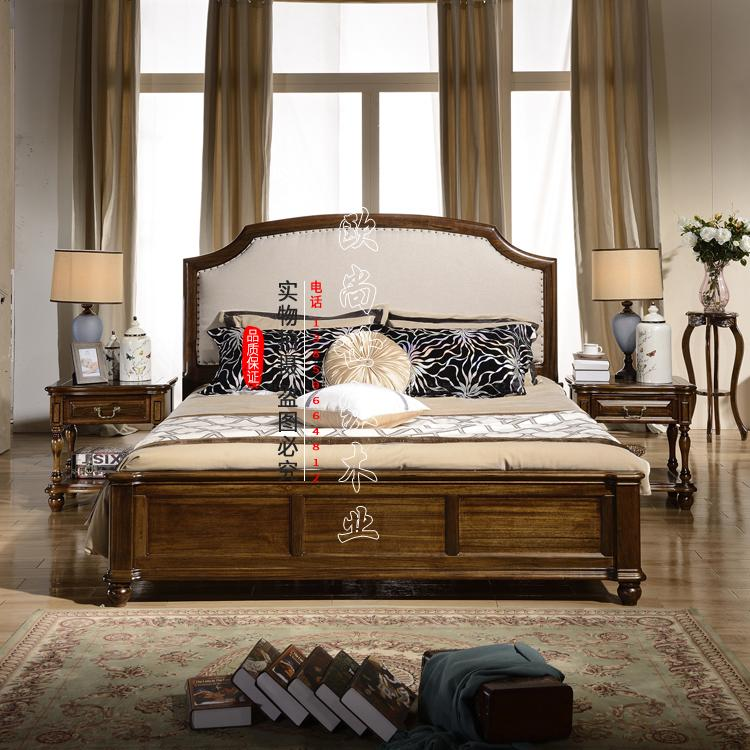 American country wood bed 1.8 meters of European double bedroom furniture retro bed simple European pastoral walnut bed