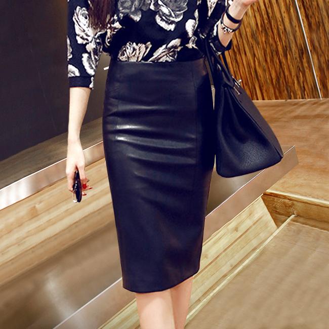 pu皮裙女2017新款秋鼕高腰包臀半身裙子中長款緊身大碼開叉一步裙
