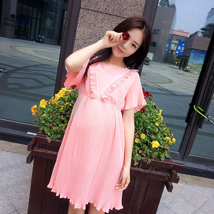 孕妇装夏季小清新韩版孕妇连衣裙甜美百褶显瘦中长款雪纺孕妇裙子
