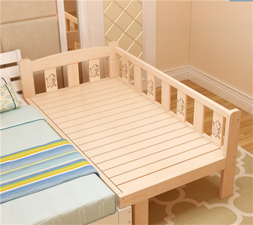 New fashion bed widened extended solid wood bed children bed frame, single bed double bed bed can be customized stitching bed