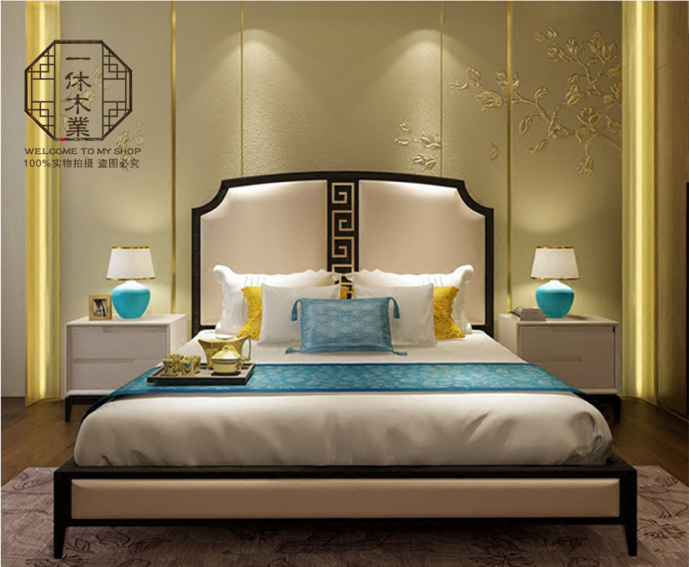 New Chinese style bed, modern simple solid wood double bed, 1.8 meter wedding bed hotel, villa model room furniture spot