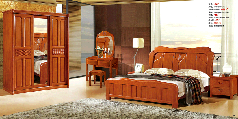 Hongyun furniture is simple, modern, all solid wood beds, double beds, oak beds, single beds, 1.8 meters package