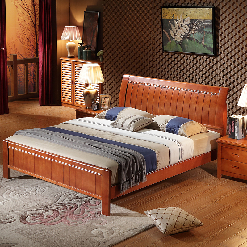 Chinese wood double bed master bedroom, 1.8m oak bed 1.5 meters, economical 1.2 meters, single child bed bag mail