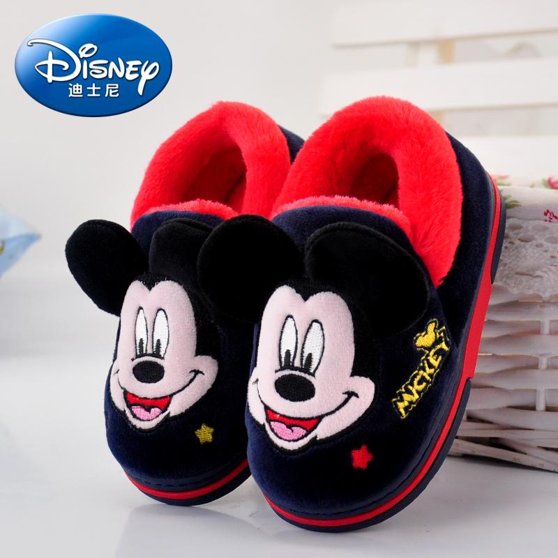 迪士尼1-2-3岁儿童棉拖鞋包跟男孩宝宝女童男童可爱冬季保暖托鞋
