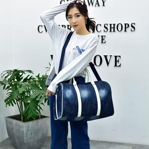 短途旅行包牛仔布手提行李袋大容量女旅游登记包休闲帆布包9005