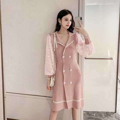 实拍+视频 针织连衣裙新款复古双排扣拼接雪纺灯笼袖显瘦中长裙子