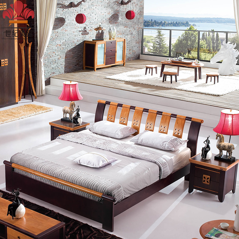 Federal style furniture full solid wood new Chinese oak double bed 1.8 meters 1.5 minimalist modern high box bed