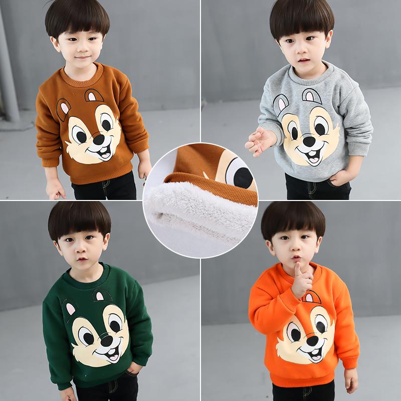 秋冬季2男宝宝卫衣加绒加厚保暖1岁女童3上衣4韩版5婴儿打底衫潮