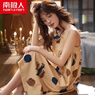 南极人纯棉睡衣女夏韩版吊带短袖睡裙