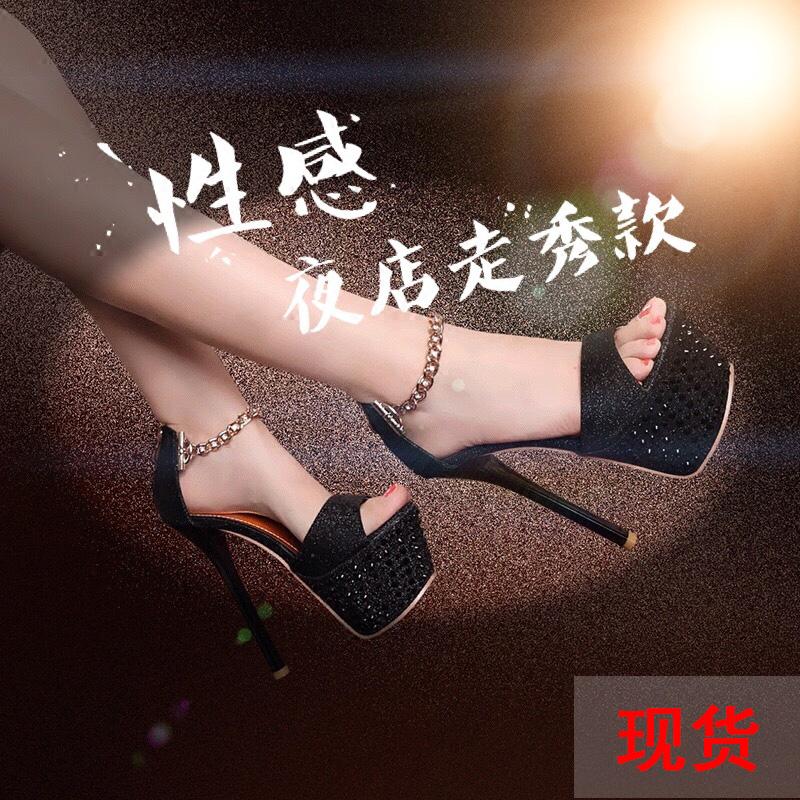 16CM超高跟水钻细跟水台露趾凉鞋15舞台模特T台夜店走秀性感女鞋