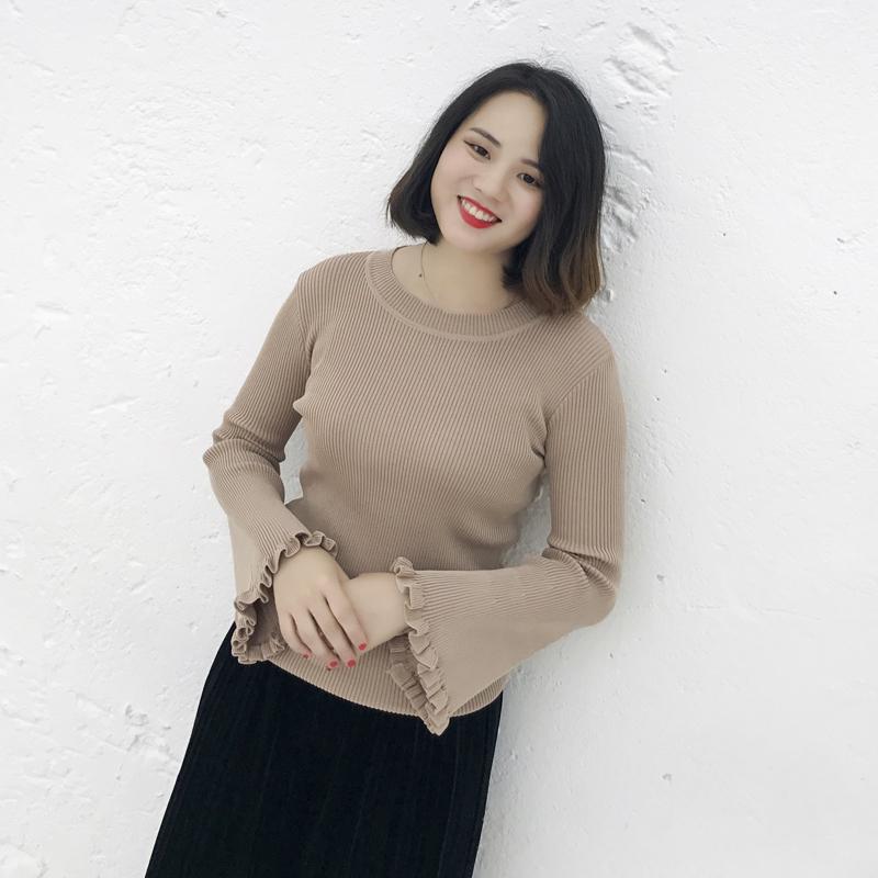 张文武2017冬装新款胖mm大码女装修身显瘦喇叭袖打底衫针织衫毛衣