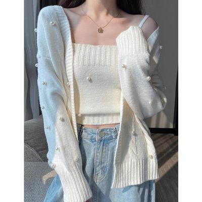 秋季2021新款宽松外穿白色针织衫女装春秋温秋装毛衣开衫外套