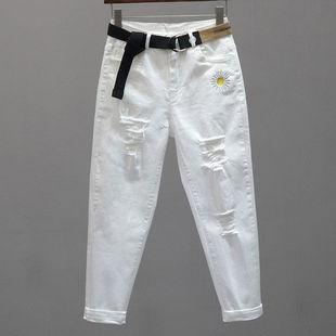 春夏新款破洞白色牛仔裤女弹力高腰九分哈伦裤韩版宽松显瘦裤子女