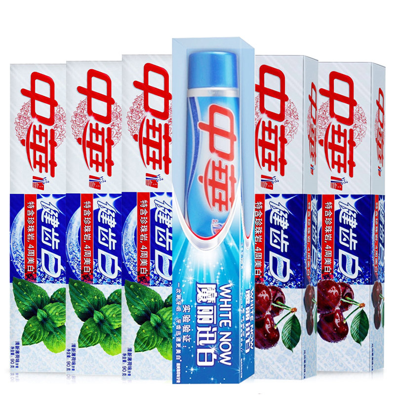 The fresh mint toothpaste 90g3 + whitening fruit fragrance 90g2 Xuandong + magic fast white 100g