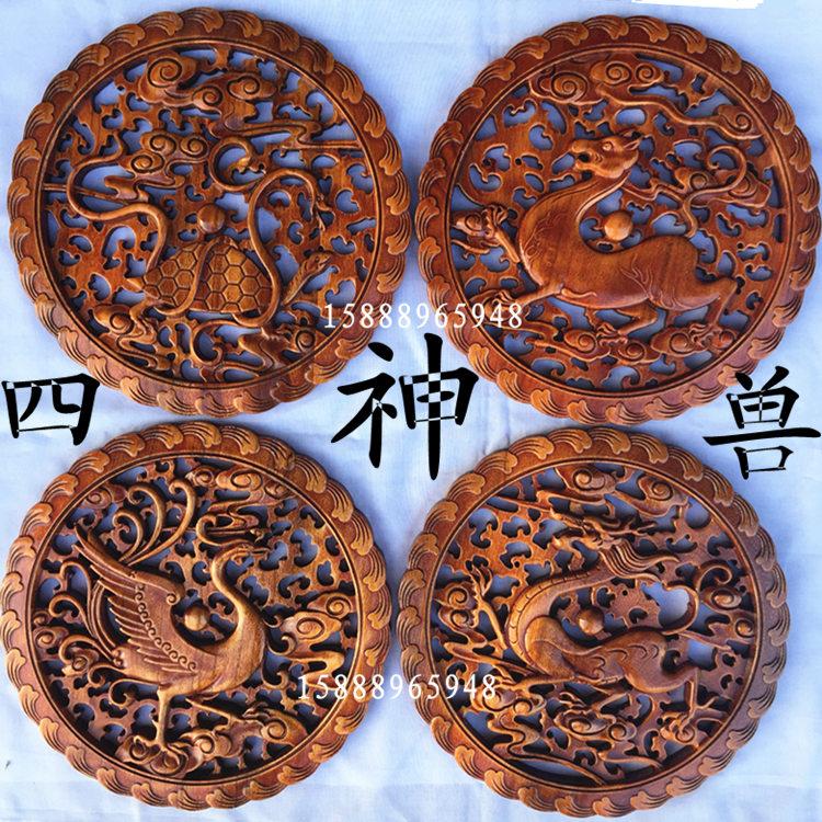 白胚款青龍東陽木雕掛件28cm四大神獸中式圓形青龍白虎朱雀玄武香樟實木壁掛