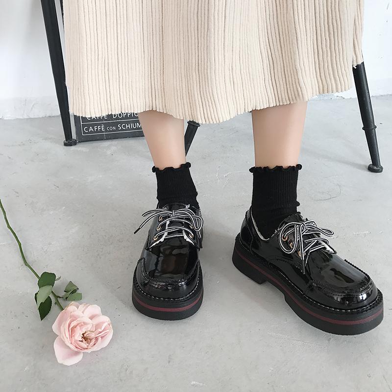 韩版软妹小皮鞋unlzzang原宿风学生鞋女厚底百搭休闲大头娃娃鞋潮