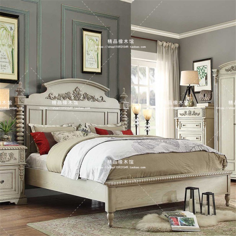 American country custom residential furniture combination bed simple European pastoral vintage white old 1.8 meters double bed