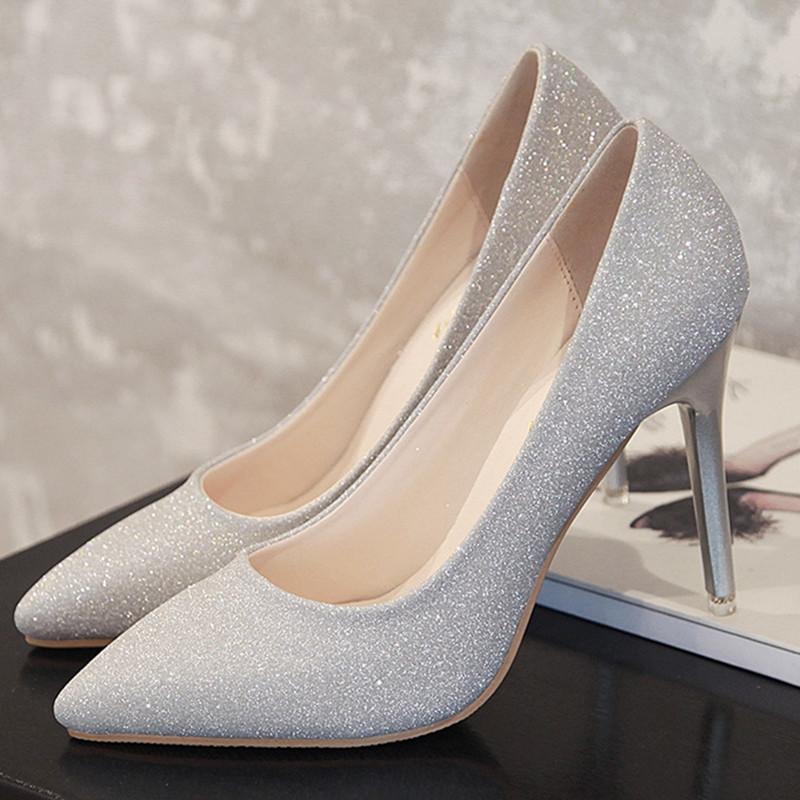 天天特价尖头银色高跟鞋细跟浅口磨砂闪粉女单鞋中跟黑色工作婚鞋