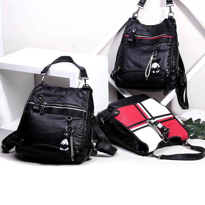 天天特价新款大容量两用女包水洗皮软皮双肩包女欧美时尚休闲背包