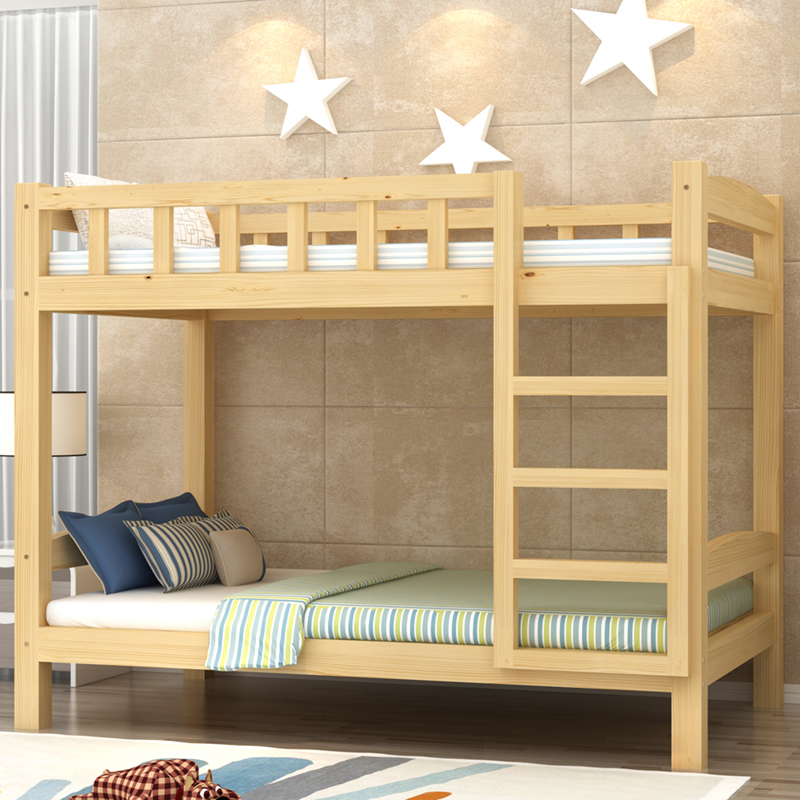 1.5 wooden bunk bed apartment layout pine juvenile spatial economic type small slide adult bunk beds