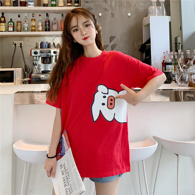 实拍夏季情侣短袖T恤半袖上衣40s精棉拉架95棉5氨纶中长宽松网红
