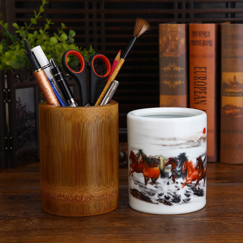 大號10-12厘米碳化筆筒實木筆筒大筆筒木制筆筒陶瓷筆筒大容量竹筆筒大號筆筒竹制筆筒