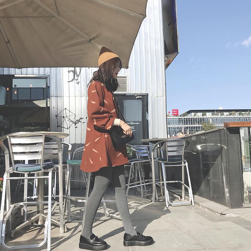 2017秋鼕新款時尚圓領焦糖色打底娃娃裙寬松燈籠袖A字毛呢連衣裙